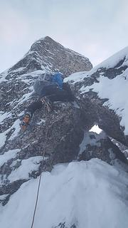 climbing the summit block
