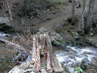 Creek crossing not far past junction on Crystal Peaks trail.