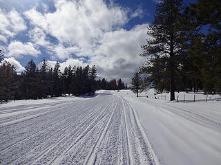 Cloverland Road is normally plowed to Cloverland Sno Park but there was so much snow this year that plowing stopped three miles short. Not much of an inconvenience for snowmobiles though.