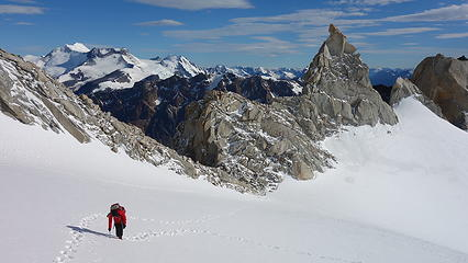 Ascending snow to base of the couloir