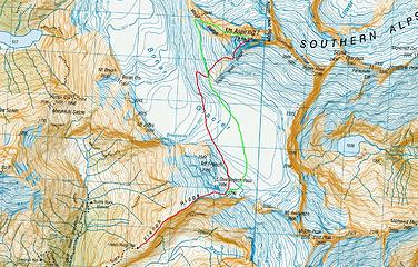 Map of our ascent route (red) and descent route (green)
