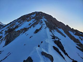 more of the ridge (the icy traverse would be if you trend left around this high point)