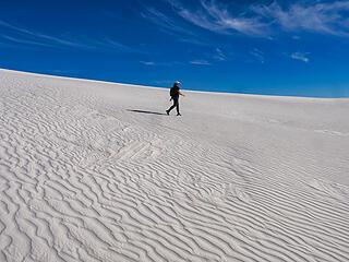 Daughter hiking dunes