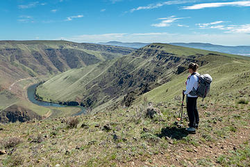 Elle on the edge of Yakima Canyon. Our route came over the high point in the center.
