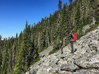 Talus field before the descent on the Blum Access Route
