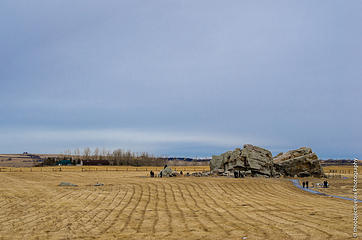 Okotoks erratic (world's largest) near Calgary, ALB - Canadian Tire photo