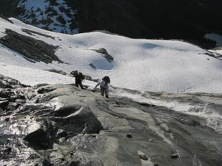 Cramponing up a waterfall slab