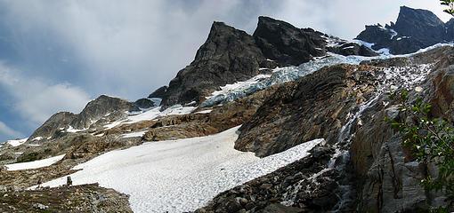 Traversing below the McMillan Glacier