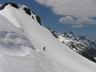 Rounding the steep traverse