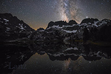 Milky Way reflected in Lake Ediza