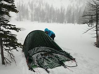 Setting up the tent in a snow squall
