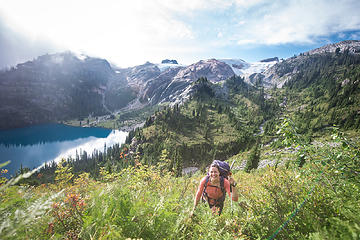 Looking back towards our route down from Bacon Peak as we pass Green Lake
