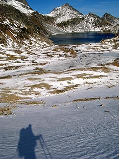 My shadow bidding farewell to Upper Ice Lake