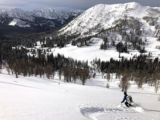 Skiing down Bigelow (photo by Fred)