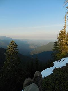 Buck Mtn (Olys, Elbo Creek Trail) looking down towards Quilcene, Dec '17
