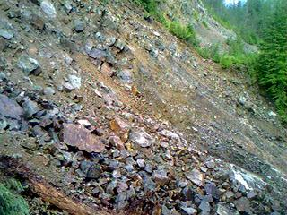 """Going towards Mineral City. The """"Slide Area"""" - completely wiped out!"""