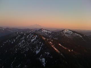 Summit view of Granite Mt Lookout in front of Rainier