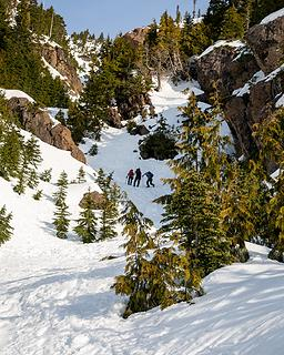 climbers approaching the winter route