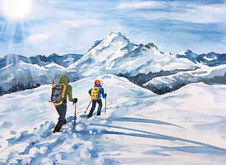 Above Welcome Pass-watercolor