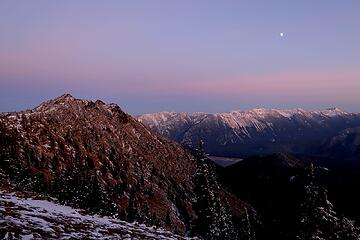 Last view of the moon over American Ridge, Nelson Ridge, and Bumping Lake