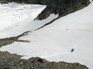 Descending the middle snowfield