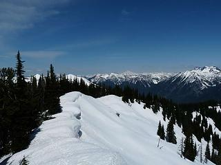 Looking north back down the ridge with the cornices