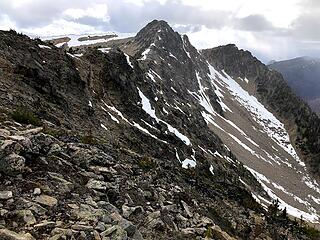 We dropped out packs at Larch Pass and sprinted up to get Two Point. Fun almost-scrambling and snow patches along the way sped our progress. RT from packs was about 1 hour.