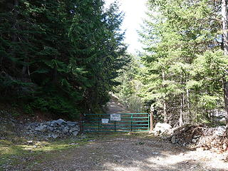 Road closure gate at 3800 feet