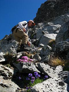 Mike scrambling past flowers