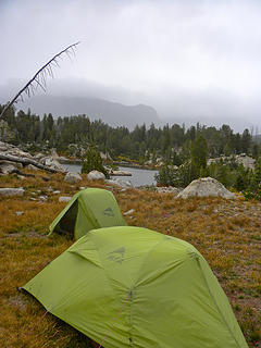 Campsite at no name lake. Ready for a stormy night.