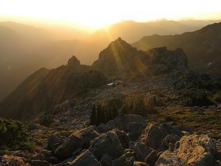 Sunbeams across pinnacles west of us