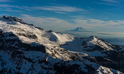 Flying up and around Mount Rainier towards Dusk.  Zeiss 16-35 and 55mm and sony a7r2`