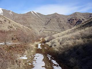 The trail quickly became snow covered so I opted to walk up one of the side ridges.
