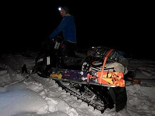 The snowmobile all loaded up (photo by Fred)