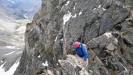 Scrambling the narrow section of ridge