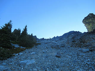 last bit of talus to the col