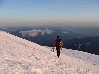 Tom descending in the alpenglow