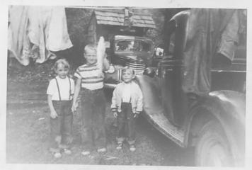 Tim Andersen and the Kirk girls with the catch of the day Queets 1954 photo John Dewitt Kirk Jr.