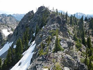 we scrambled this ridge to the central peak