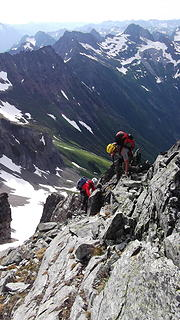 Wayne and I down climbing on the E Ridge.