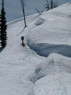 Skirting around a tricky little part of the ridge