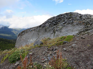 Survey Rock is a knob of Glacier Creek andesite, the same flow or series of flows  that you saw at Kulshan Creek.  The resistant knob is an easy class 2 on the south,  or solid but exposed class 3 on the north....