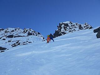 Downclimbing the west face