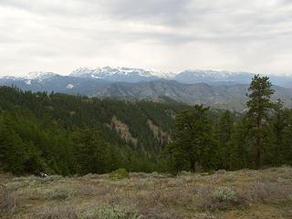 View off North Ridge of Teanaway Peaks, Ingalls Basin, Stuart Range, Icicle Ridge etc...