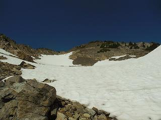 the final slope up in the upper summit bowl