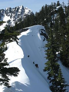 Descending from Quartz ridge, Bessemer behind