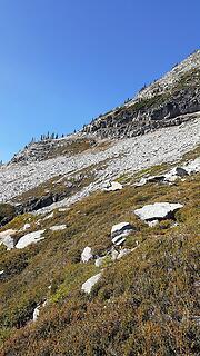the ramp to gain the SE ridge, circa 7000ft