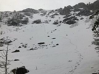 After bypassing a scrambly bit on the NW Ridge on the right side around 7600', I went up snow covered talus and scree to the summit area where the wind was blowing and the snow was falling. No shot of the summit. Descended talus to the snow slopes and booted down.