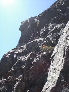 Wayne rappeling on the way to Middle Peak.