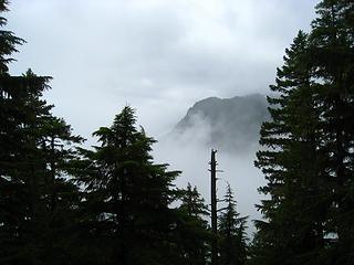 foggy valley below
